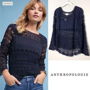 ANTHROPOLOGIE Deletta Crochet and Lace Top- Small
